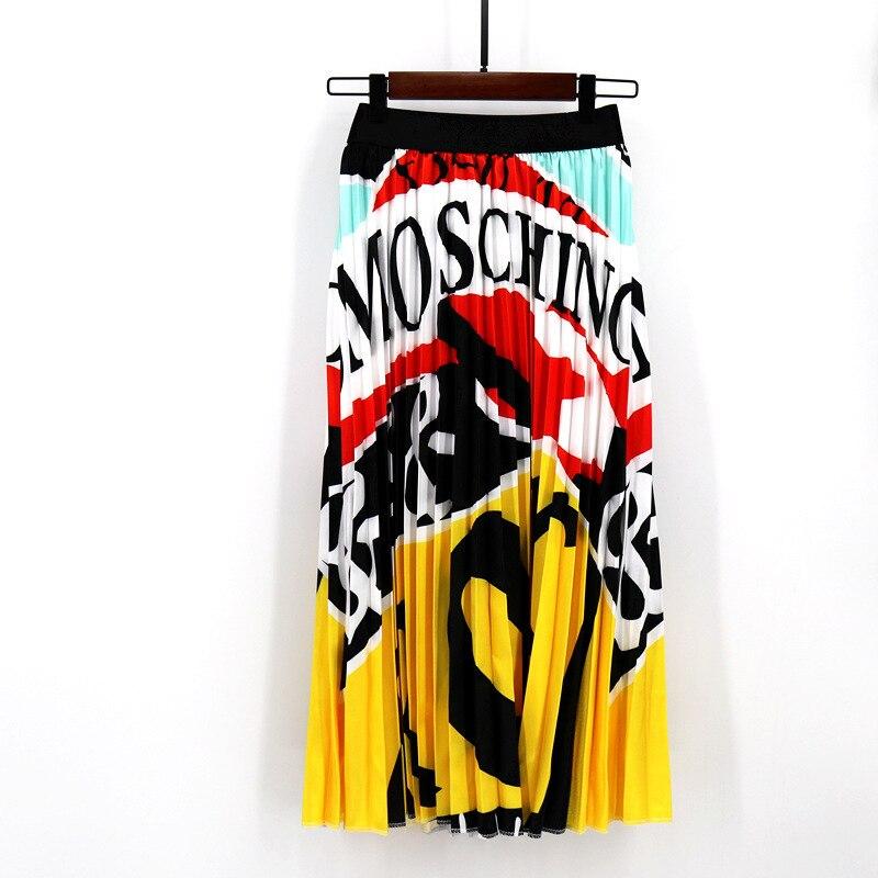 2020 Summer Newest Letter Print Long Skirt Women Irregular Stitching Color Skirt Lady High Waist Elastic A-Line Skirt ZQY832 53