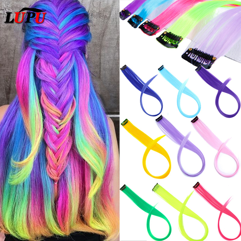 LUPU Long Straight Hair Extensions Ombre Grey Red Pink Colored Rainbow Highlight Single Clip In One Piece False Hair