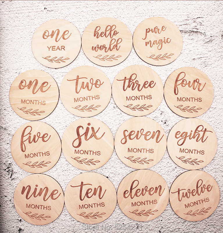 Wooden Baby Milestone Cards   Set of 15   Engraved Wooden Milestone Cards   Newborn   Gift Idea   Baby Shower   Girl   Boy  |Party DIY Decorations|   - AliExpress