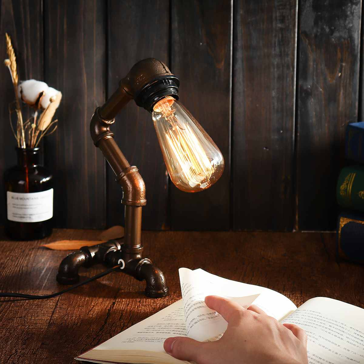 Vintage Industrial Water Pipe Table Lamp Light Steampunk Table Desk Lamp Lantern Fixture E27 Bulb Home Bedroom Decoration