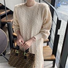 Осенне зимнее элегантное модное простое однотонное платье свитер