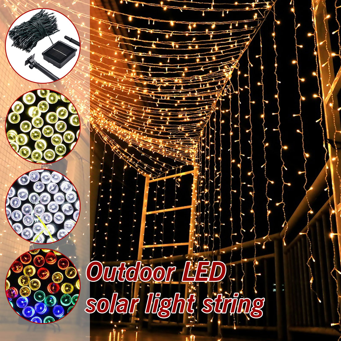 7M/12M/22M Waterproof Solar Powered Light Fairy Light Christmas Street Garland LED String Strip Light Outdoor For Garden Wedding