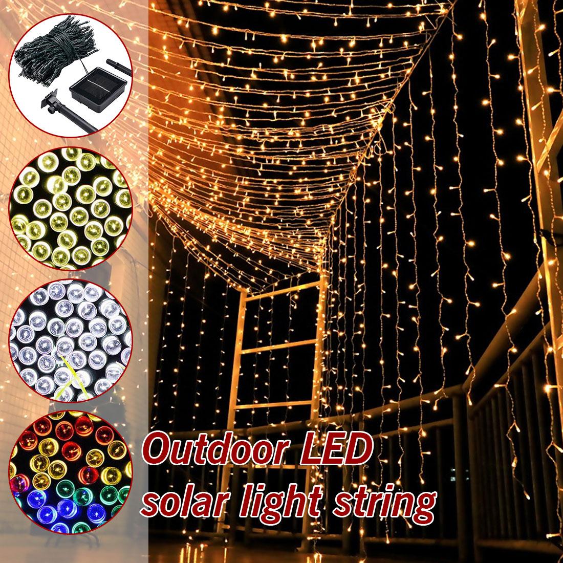 7M/12M/22M Waterproof Solar Powered Light Fairy Light Christmas Street Garland LED String Strip Light Outdoor For Garden Wedding