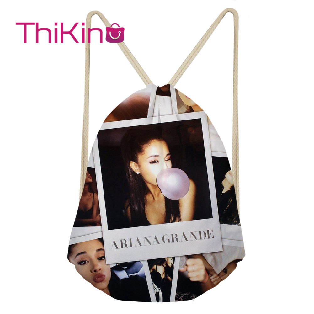 Thikin Ariana Grande Casual Sack Drawstring Bag For Girl Travel Backpack Toddler Softback Lady Beach Mochila DrawString Bag