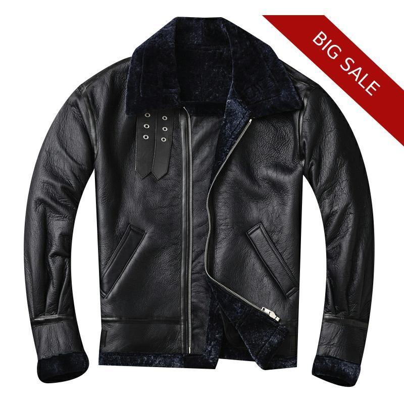 2020 Black Men American Style B3 Bomber Shearling Jacket Plus Size XXXL Genuine Sheepskin Winter Warm Pilot Shearling Coat