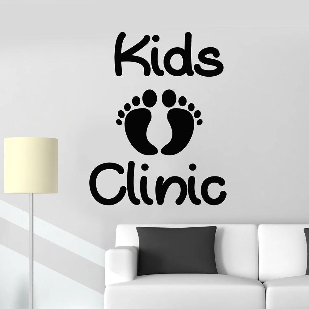 Kids Clinic Logo Wall Decal Children Care Health Baby Footprint Art Door Window Vinyl Sticker Interior Decoration Removable E097