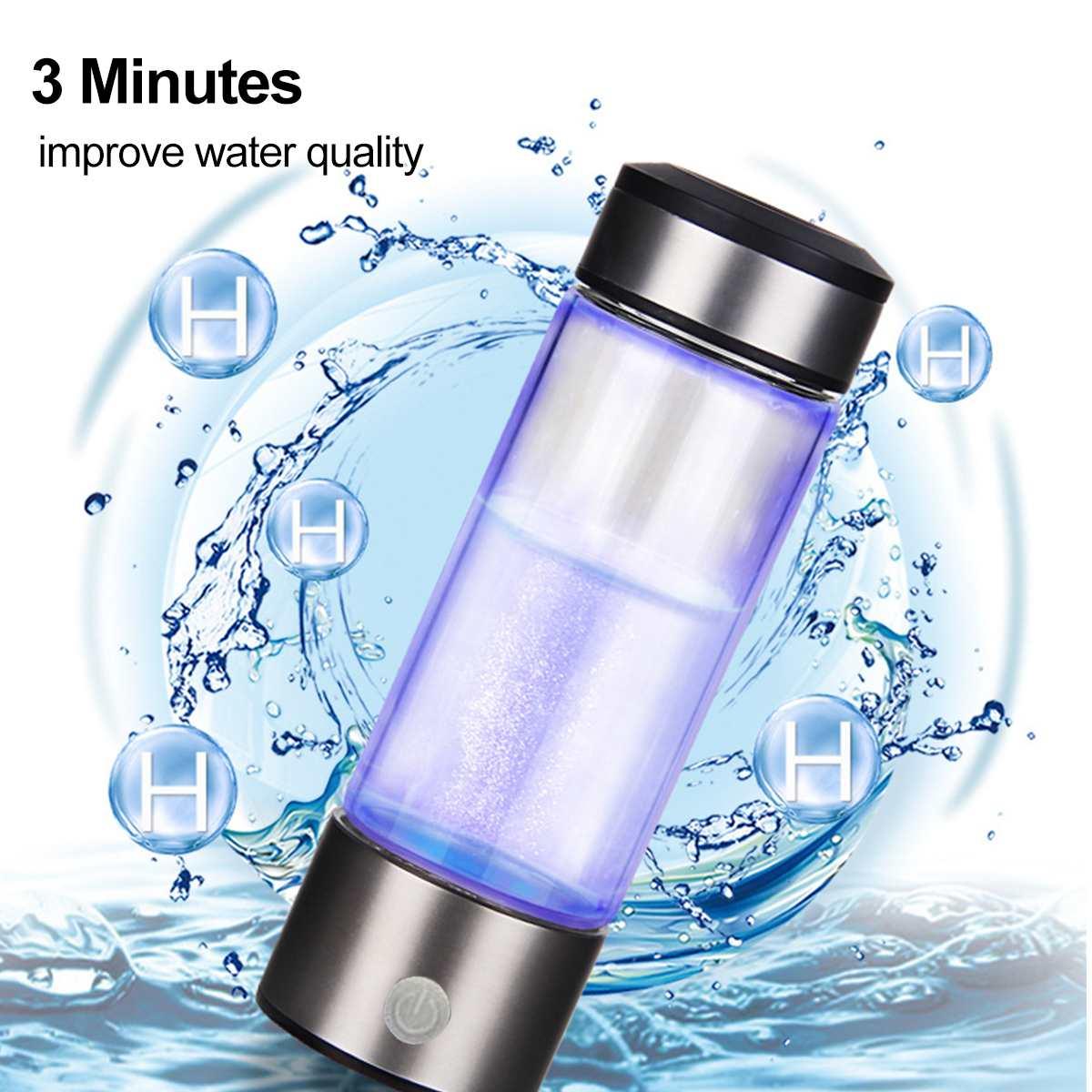 3mins Portable Hydrogen-Rich Water Cup Ionizer Maker/Generator Super Antioxidants ORP Hydrogen Bottle 420ml Rechargeable