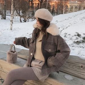Image 1 - Mishow 2019 Women New winter clothing thicken woolen jacket female Korean version of the short loose Plaid woolen coat MX18D9536