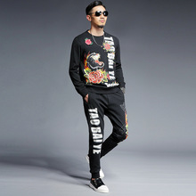 New 2 Pieces Sets Tracksuit Men Brand Autumn Winter Mens Pullover Sweatshirt +Drawstring Pants Male Casual