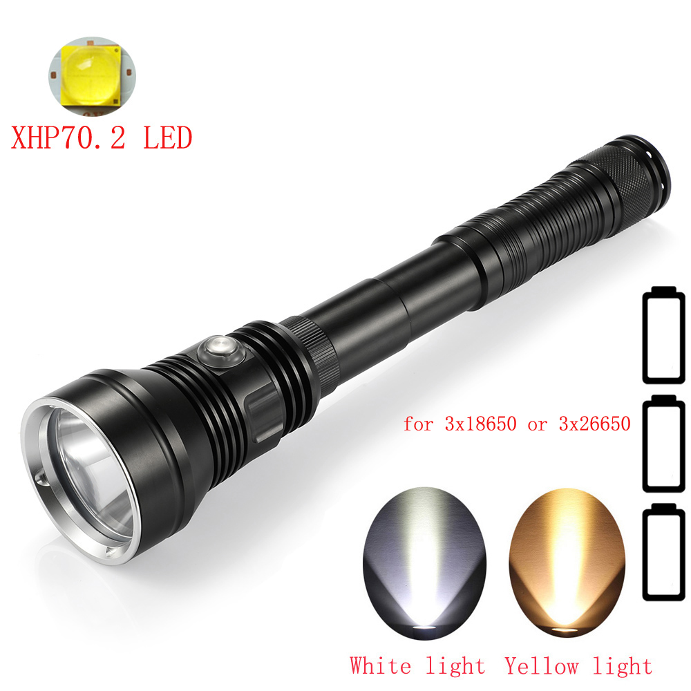 New Professional XHP70.2 LED Diving Flashlight Waterproof Underwater 100M Dive Light Tactical Torch For 3x18650 Or 3x26650