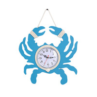 Sea Theme Nautical Anchor Ship Steering Wheel Fishing Net Hanging Wall Clock Home Decoration Accessories