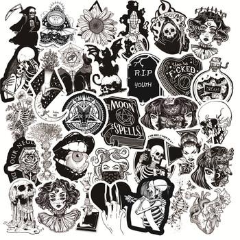 50 sztuk paczka czarny biały gotycki styl Horror Thriller naklejki fajne Pegatina dla DIY Laptop Skateboard gitara naklejki na samochód naklejki tanie i dobre opinie AOSST CN (pochodzenie) 4-8cm Waterproof and Sun Protection 0 01 Black White Gothic Wind Stickers High Quality PVC Black and White Horror Thriller Style Gothic