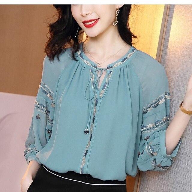 Women Spring Autumn Style Chiffon Blouses Shirts Lady Casual Long Sleeve O-Neck Loose Chiffon Blusas Tops DD8852 1