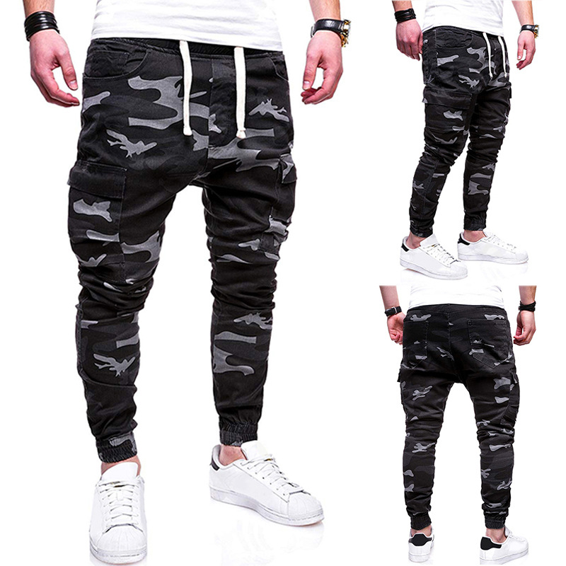 MEN'S WEAR Ouma Casual Trousers Fashion With Drawstring Ouma Youth Camouflage Beam Leg Sports Large Pocket Men's Trousers