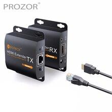 Proster 1080P HDMI Ethernet Netzwerk Extender über Einzel für RJ45 Cat6 Cat7 Kabel HDMI Extender 60m HDMI Repeater mit Ir fernbedienung