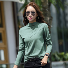 Autumn Turtleneck T-shirt Womens Harajuku Fashion Multicolor Loose Long-sleeved Cotton New Cute Sexy Street Party Shirt