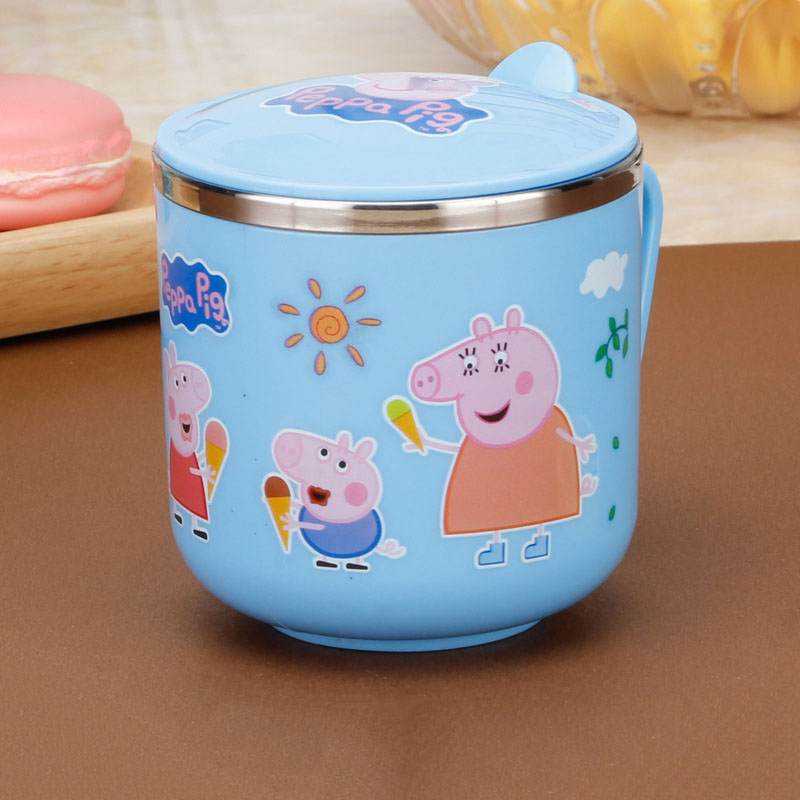 Original Peppa Pig Stainless Steel Children's Water Cup Double Layer With Handles Cartoon Anime Cup Children Christmas Gift 2P19
