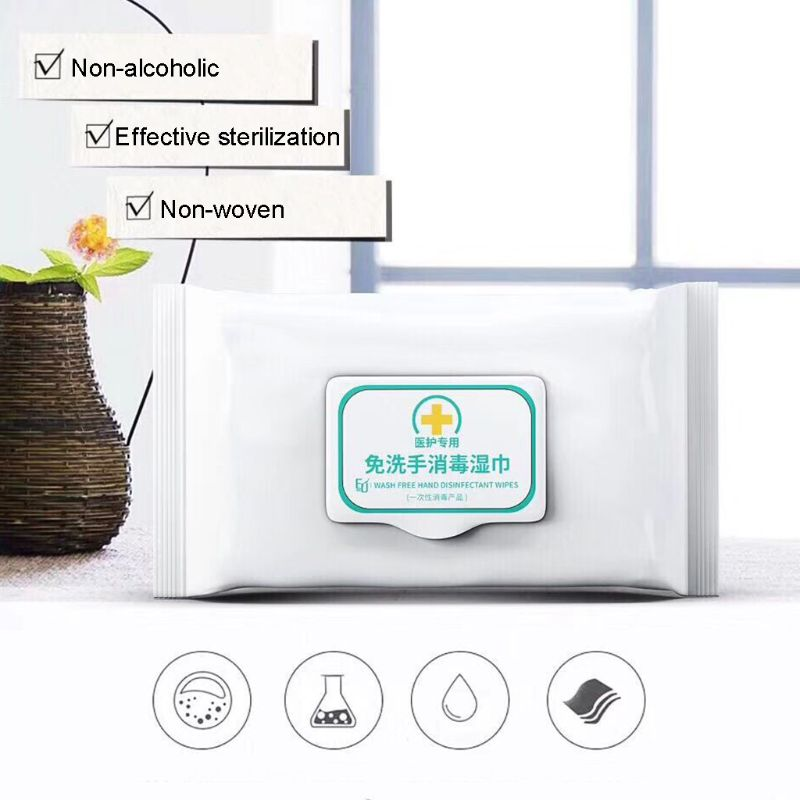 50Pcs NO Alcohol Wet Wipes Portable Disinfection Pads Sterilization Antiseptic Hand Sanitizer Wipes Sterilization