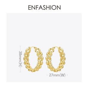 Image 4 - ENFASHION Punk Kleine Link Kette Hoop Ohrringe Für Frauen Gold Farbe Runde Hoops Ohrringe Modeschmuck Pendientes Mujer E191088