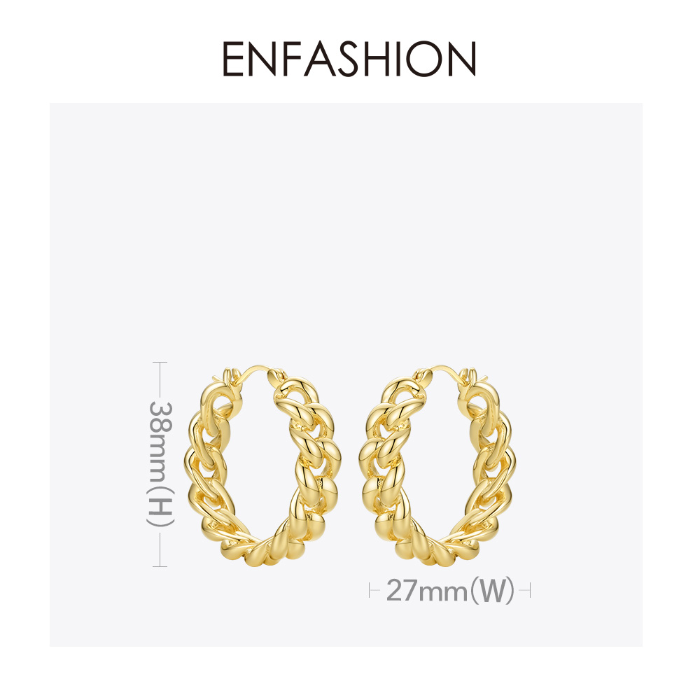 Image 4 - ENFASHION Punk Small Link Chain Hoop Earrings For Women Gold Color Round Hoops Earings Fashion Jewelry Pendientes Mujer E191088Hoop Earrings   -