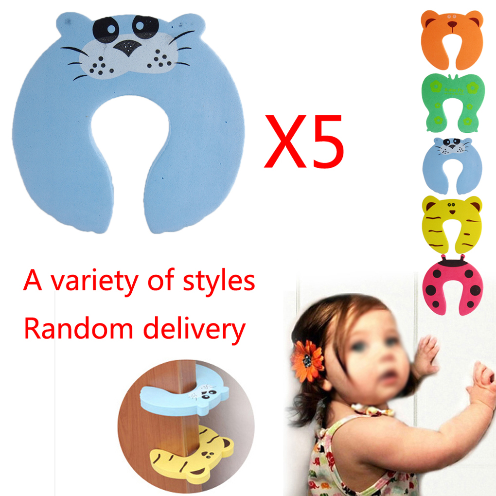 5Pcs//Lot Protection Baby Safety Cute Animal Security Door Stopper Baby Card Lock