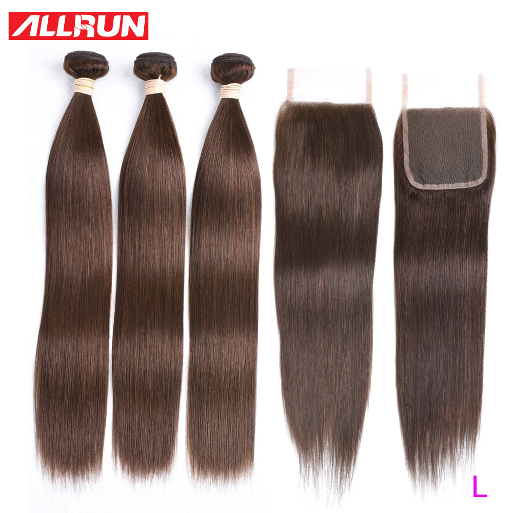 Allrun Brazilian Hair Weave Bundles With Closure Non Remy Striaght Human Hair Bundles With Closure Color 4 Light Brown