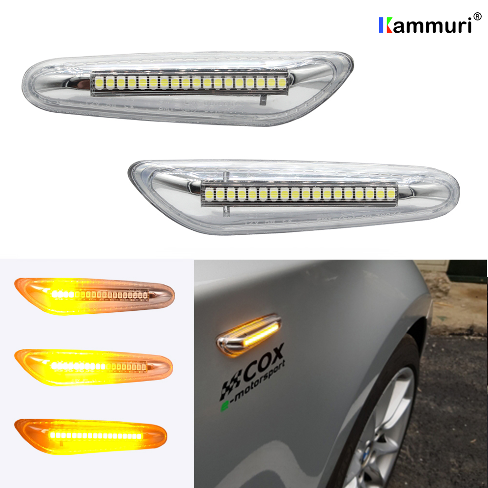 2PCS silver white LED side marker turn signal indicator 16 LED streamer for BMW E46 E36 E90 E91 E60 E61 E81 E82 E87 E88 E92 E93 image