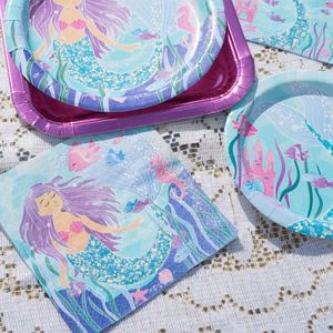 Image 4 - 1st Girl Happy Birthday Party Set Mermaids Party Tableware Paper Cups Plate Latex Balloons stand Baby Shower Party Decorations