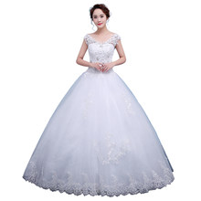 Wedding Dresses V-neck Princess Plus Size Female Embroidery Dresses Bride Wedding Gowns Lace Up Wedding Dress(China)