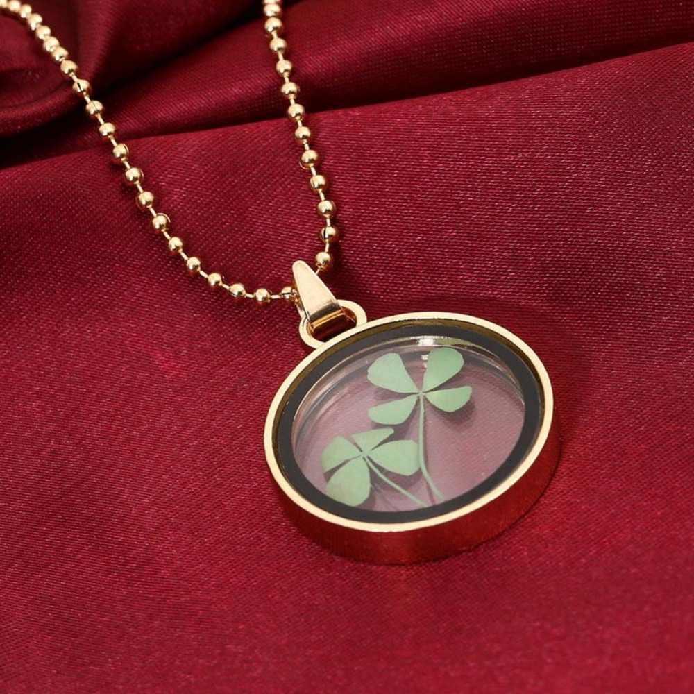 Bunga Kering Clover Liontin Pelampung Memori Hidup Liontin Kalung Perhiasan Nyata Tanaman Bunga Rantai Kalung