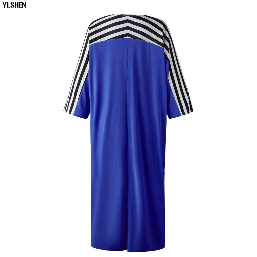 Super Size African Dresses for Women Dashiki Stripe African Clothes New Bazin Riche Sexy V-neck Long Africa Dress Woman Clothing 25