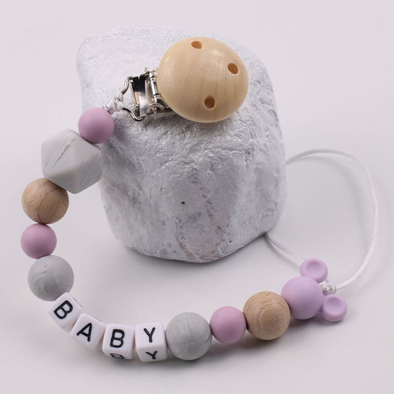 Customized Name Baby Pacifier Clips Chain Mickey Silicone Beads Nursing Teething Dummy Nipple Holder Soother Chain