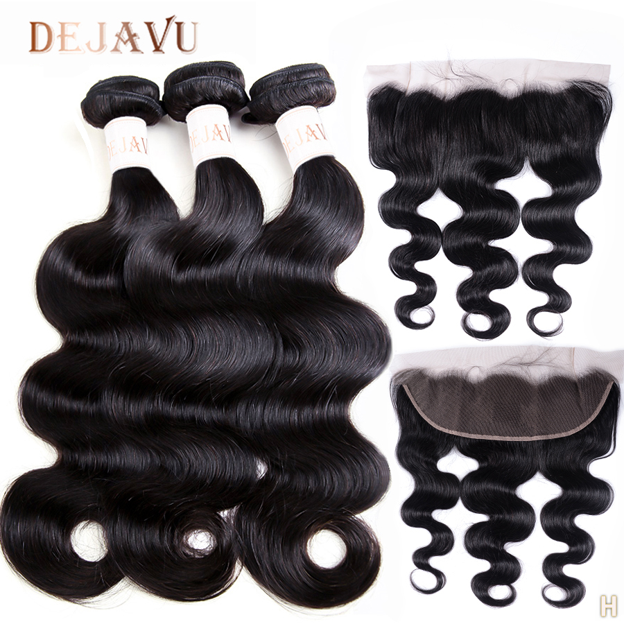 DEJAVU Body Wave Bundles With Frontal Non-Remy Bundles With 13*4 Lace Closure 100% Human Hair Brazilian Weave With Frontal