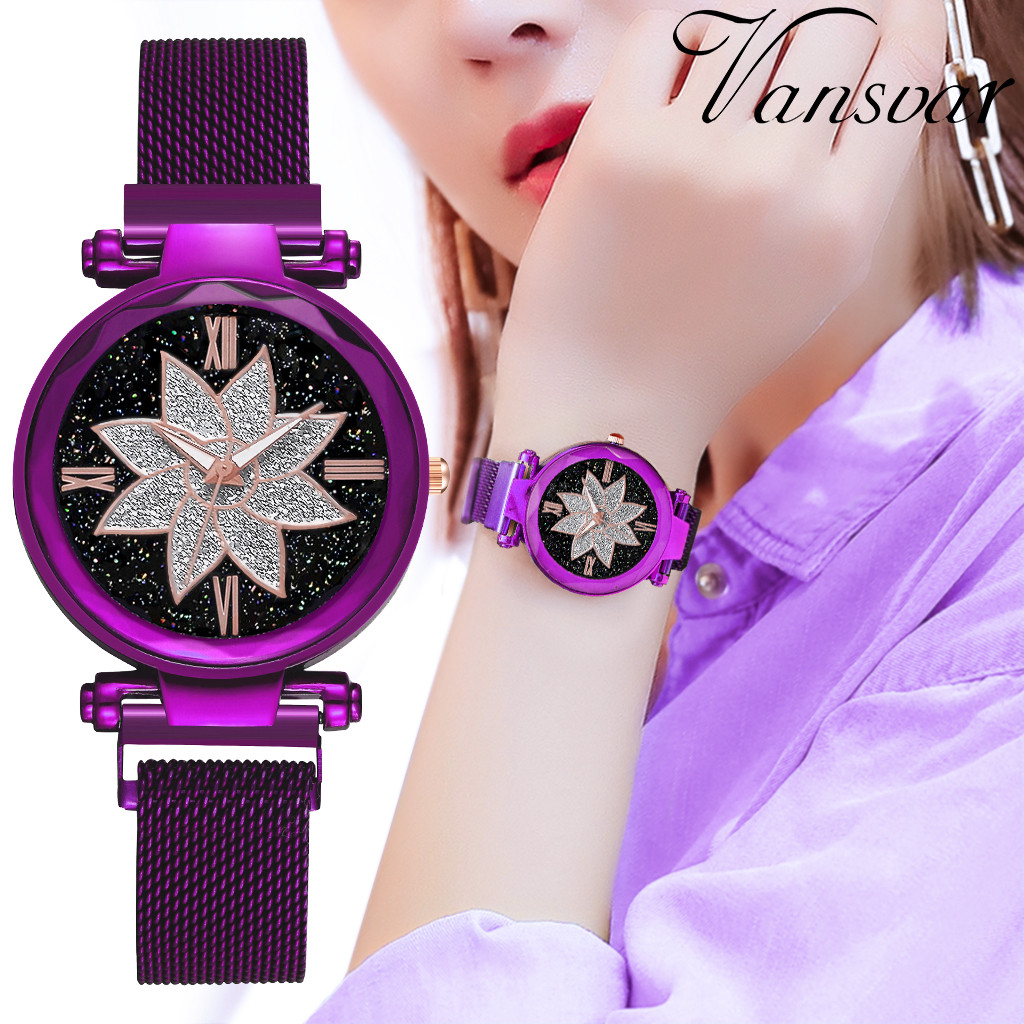 Hot Selling Women Magnet Buckle Starry Sky Watch Luxury Ladies Stainless Steel Quartz Watch Relogio Feminino Dropshipping W50