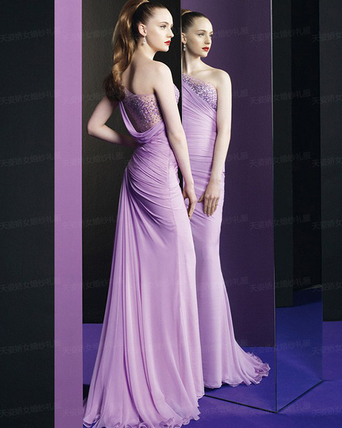 Cheap Free Shipping Robe De Soiree 2014 New Fashion Sexy One Shoulder Vestido De Festa Longo Purple Formal Evening Dresses