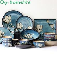 Керамическая посуда в японском стиле с ручной росписью набор