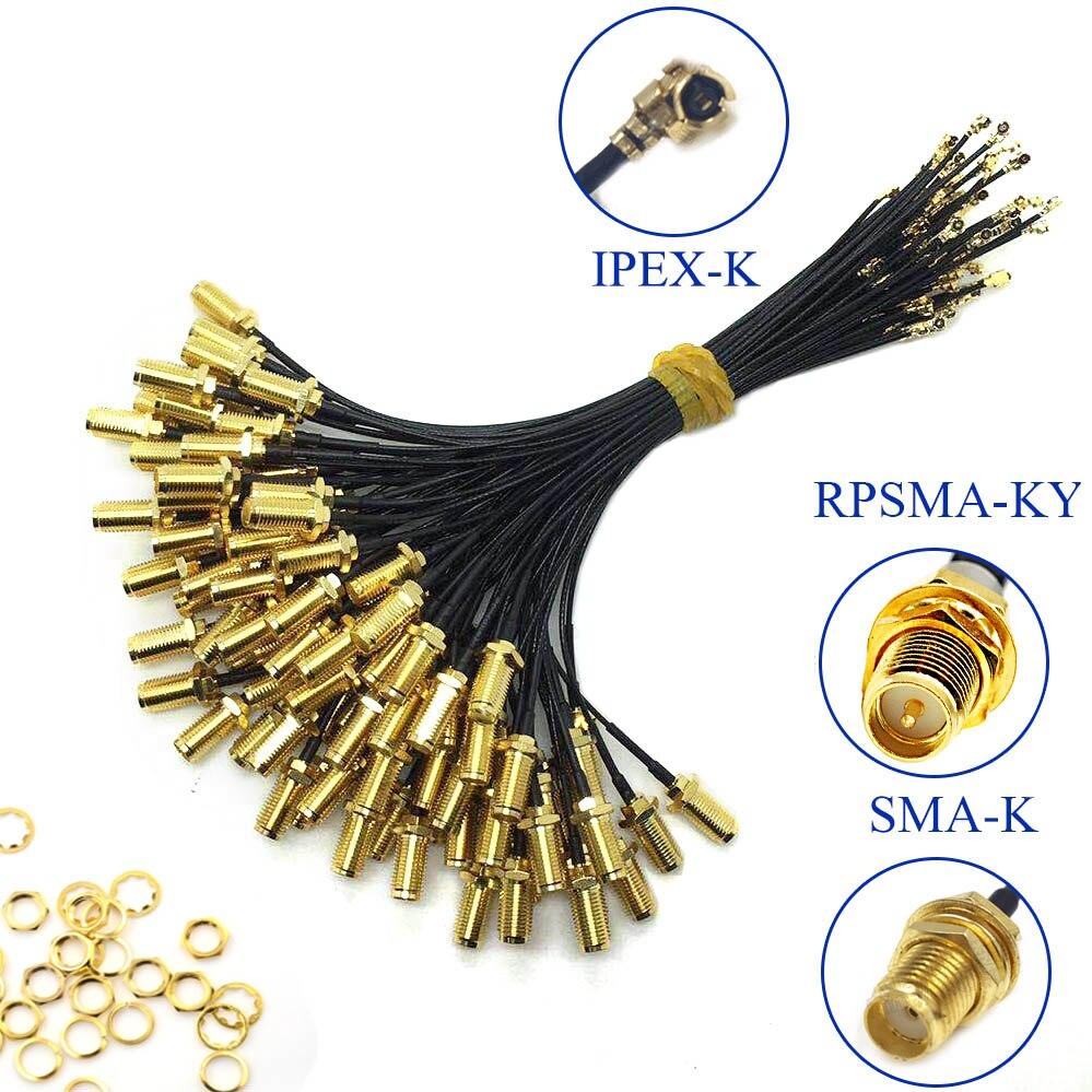 5 pces sma conector cabo fêmea para ufl/u. fl/ipx/ipex ufl para sma fêmea rg1.13 antena rf cabo montagem RP-SMA-K