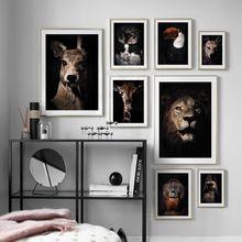 Настенная картина с Львом совой жирафом волком попугаем оленем
