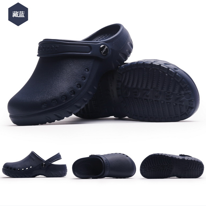 New Men's Chef Kitchen Working Slippers Garden Shoes Summer Breathable Beach Flat With Shoes Mules Clogs Men EVA 2019