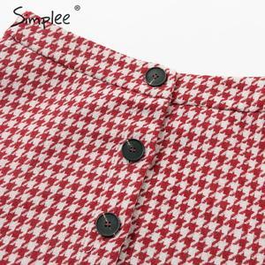 Image 4 - Simplee Plaid tweed femmes jupe automne hiver bouton ébouriffé femme trompette sirène courte jupe décontracté dames bas partie jupe