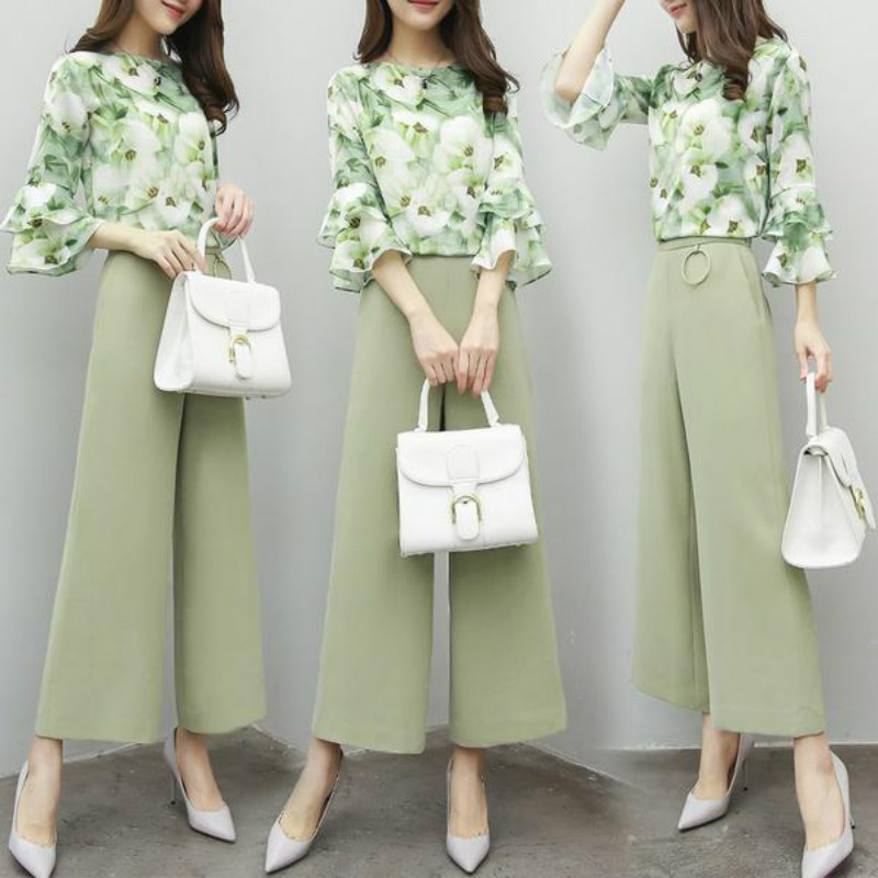 2020 new women's spring 2-piece panties Chiffon printed 7-sleeve Top + wide leg pants casual fashion suit for women