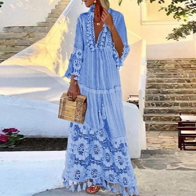 Women Sexy Deep V-Neck Lace Patchwork Party Long Dress Summer Fashion Vintage Tassel Design A-Line Dress Female Casual Dress 4XL 5