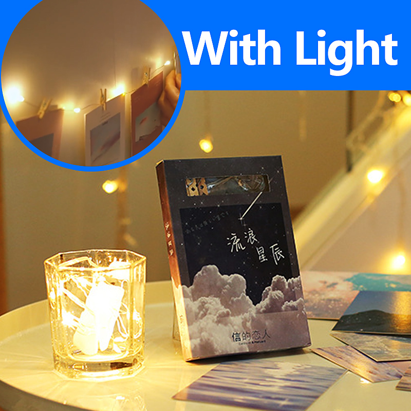 With Light Vintage Postcards Creative Writing Greeting Postcard Set Lomo Starry/Ghos Cute Mini Postcard Message Wish Card Gifts