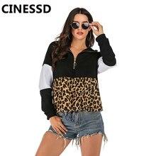 CINESSD Women Leopard Hooded Sweatshirts Hoodies Black Long Sleeve Patchwork Zipper Elastic Tie 2019 Casual Tops Pullover Hoodie