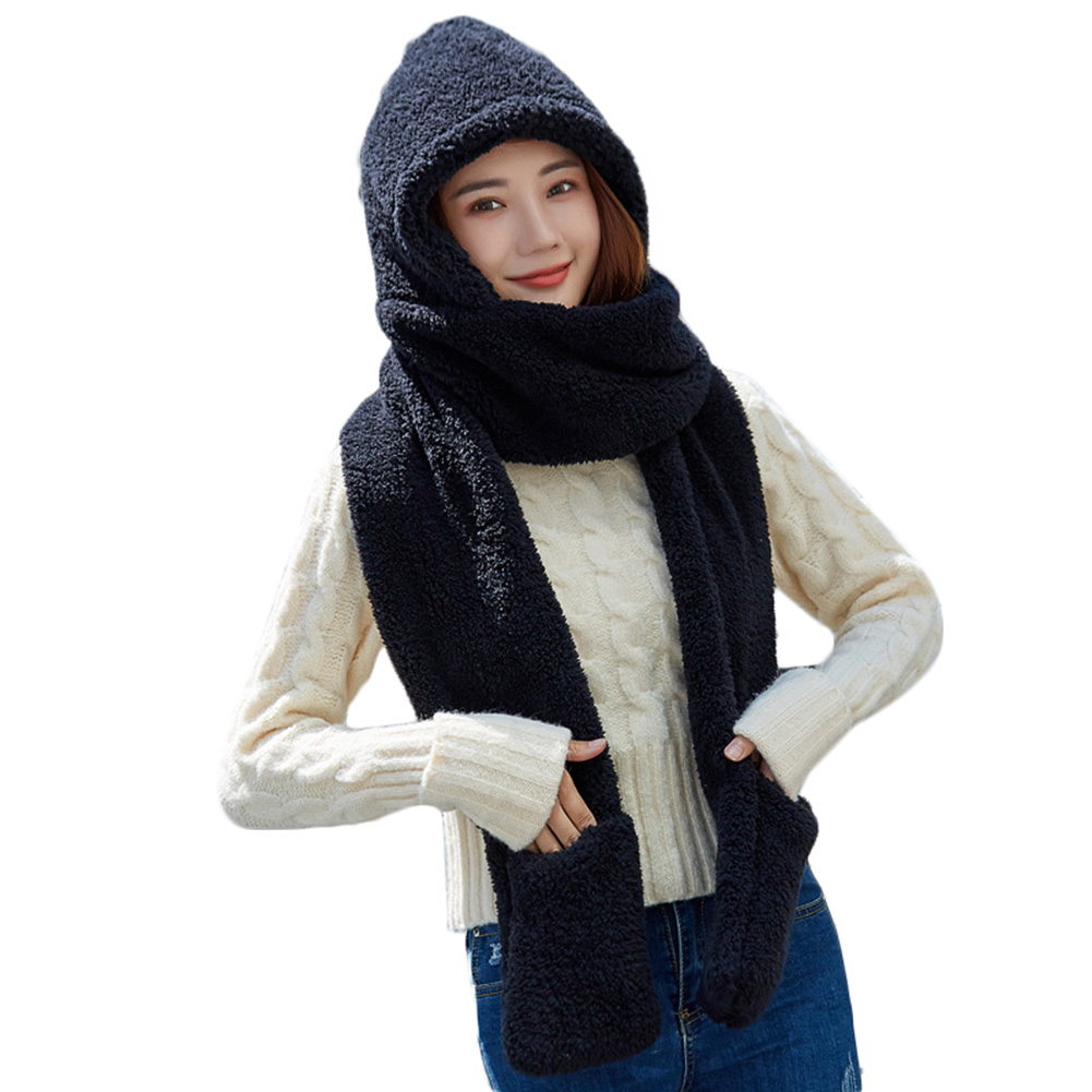 3 In 1 Women Warm Hood Scarf Snood Pocket Gloves Hat Cute For Winter Outdoor -MX8