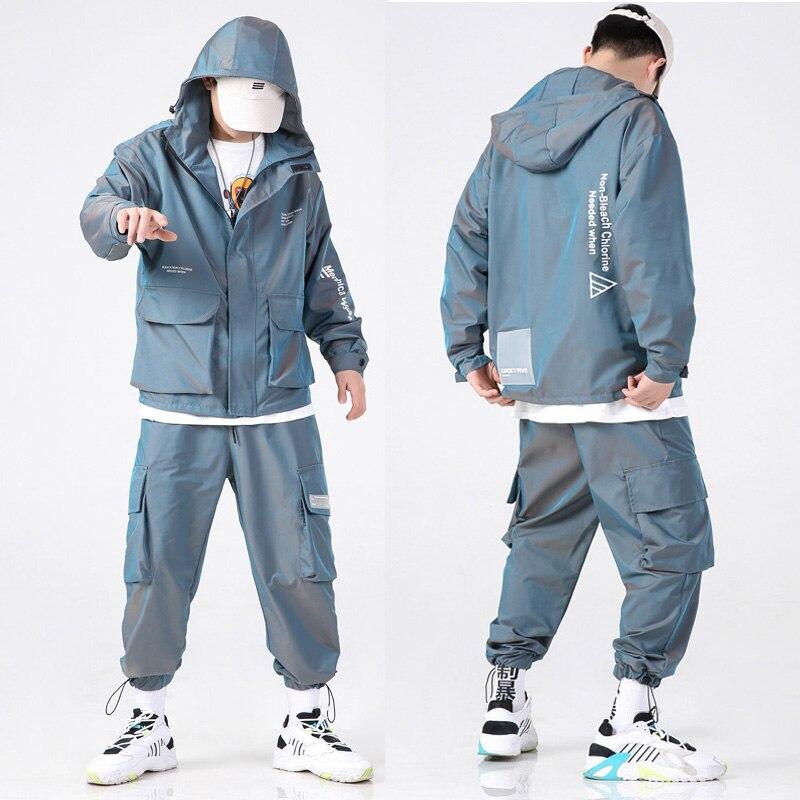 Tracksuit Men Sets 2020 Mens Fashion Hip Hop Streetwear Letter Printed Hoodie Jackets + Sweatpants Sportswear Men Suits