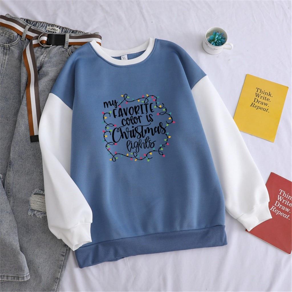 2020 New Arrival Winter kawaii Loose Pulloiver harajuku Tops Fashion Women Casual Long Sleeve Christmas Letter Print Sweatshirt