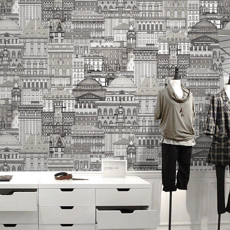3D moderne élégant noir et blanc croquis château ville architecture motif papier peint pour vêtements magasin chambre fond