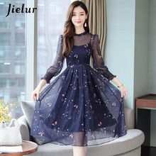 Jielur Chiffon Dress Women 2019 New Autumn Elegant Floral Dresses Fake Two Pieces Vestidos O-neck Slim High Waist S-XXL