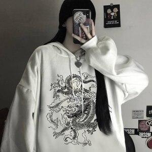 Уличная Женская толстовка с капюшоном с принтом китайского дракона, зимняя одежда, Женская толстовка большого размера в стиле Харадзюку, ви...